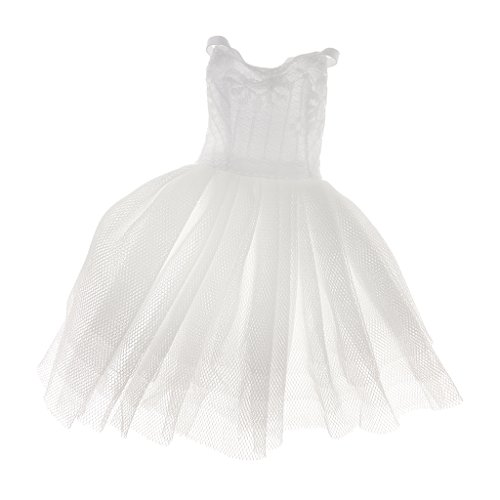 MagiDeal Stunning Handmade White Skirts Dress Clothes for Barbie Doll
