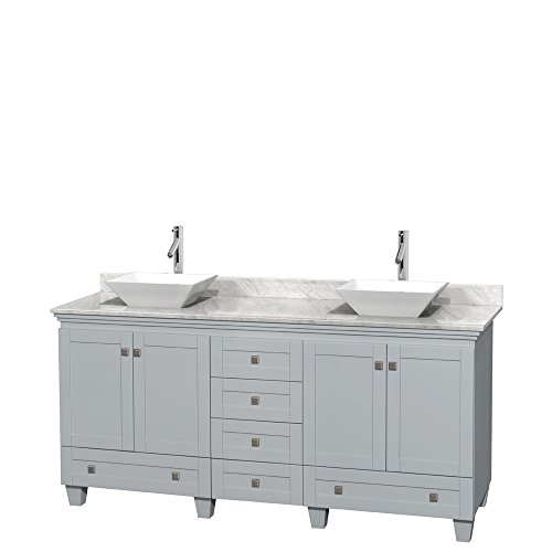 Wyndham Collection Acclaim 72 inch Double Bathroom Vanity in Oyster Gray, White -