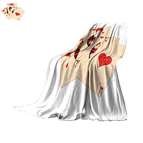 (Alice in Wonderland Travel Throw Blanket Crown of Gambler Queen Alice Hearts Royal Fairy Flush Face Magic Velvet Plush Throw Blanket 80 x 60 inchBrown Red Ecru)