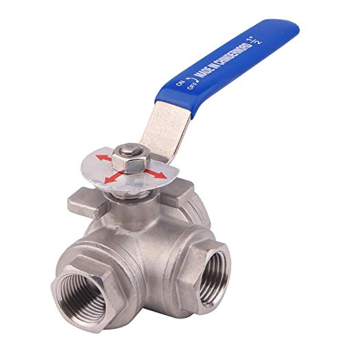 DERNORD 3-Way Ball Valve, T Mounting Pad, Stainless Steel 304 Female Type with Vinyl Locking Handle (1/2 Inch NPT)