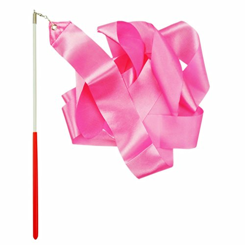 Shxstore Rhythmic Gymnastics Ribbon, Praise Dancing Streamers for Kids, Pink, 1 Set -
