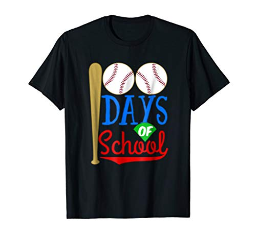 Happy 100th 100 Days of School T-shirt Baseball Bat Sports ()