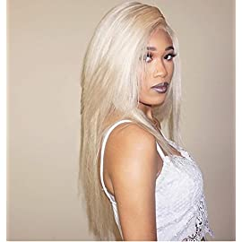 Wowsexy Hair Full Lace Wig #613 Blonde for Women with Baby Hair Glueless Brazilian Virgin Human Hair Wigs Straight (12″, 130% Denisty Front Lace Wig)