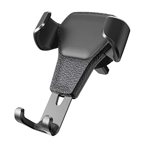 Wangtao Car Phone Holder,Universal Air Outlet Bracket,Gravity Sensor,Leather Material,for 4-6 Inch Phones,for iPhone,Samsung,Huawei Etc (2 Colors) (Color : Black) ()