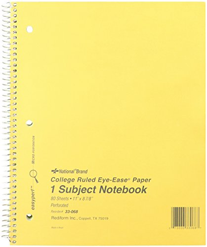 - NATIONAL Brown Board Cover Notebook, College ruled, Green Paper, 11 x 8.50