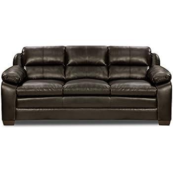 Amazon.Com: Simmons Upholstery Soho Bonded Leather Sofa, Espresso