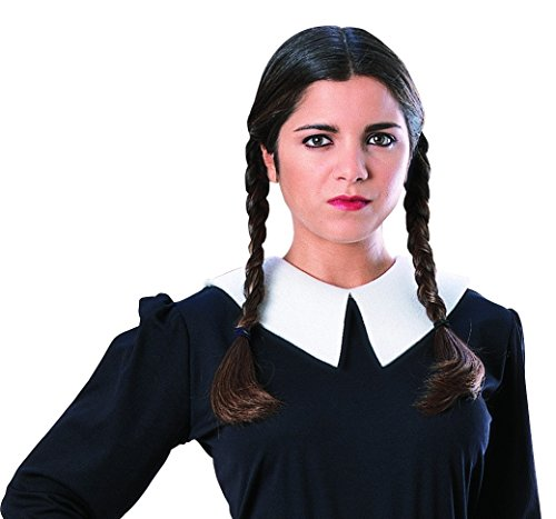 [Addams Family Wednesday Women's Black Braids Costume Wig] (The Addams Family Wednesday Costumes)