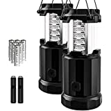 Etekcity 2 Pack Portable LED Camping Lantern Flashlights 6 AA Batteries - Survival Kit Emergency, Hurricane, Outage (Black, Collapsible)