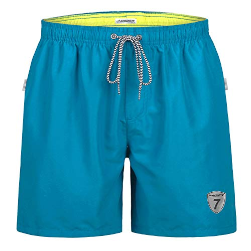 LANYI Mens Swimming Trunks Swim Beach Surfing Board Shorts Swimwear Quick Dry Mesh Lining Bathing Suits with Pockets (Peacock Blue, ()