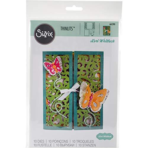 Sizzix 661390 Thinlits Die Set, Gatefold Card, Butterflies by Lori Whitlock (10-Pack) ()