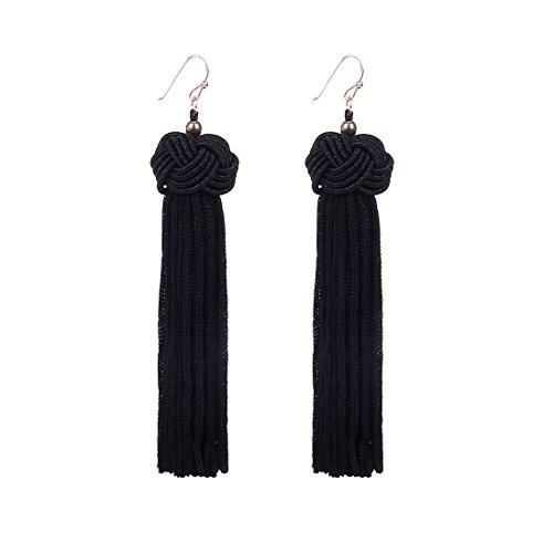 Knotted Tassel Earrings Long Tassel Fringe Earrings Yarn Tassel Earrings Black