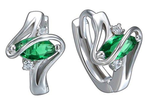 Smile YKK Bague D'oreille Motif Plaqué Argent 925 Cristal Ovale Beauté Design Vert