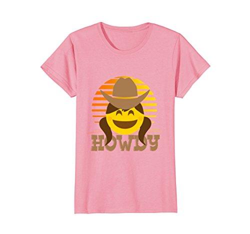 Womens Smiling Cowgirl Howdy Emoji T Shirt Large (Cowgirl Womens Pink T-shirt)