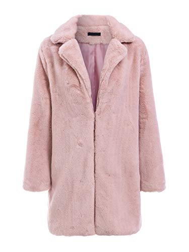 368fb00ab4e5 BerryGo Women's Shaggy Faux Fur Coat Long Sleeve Thick Jacket Outwear with  Pocket Light Pink,