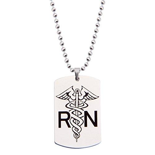 KUIYAI Caduceus Symbol RN Nurse's Prayer Dog tag Necklace (RN necklace) - Symbol Dog Tag