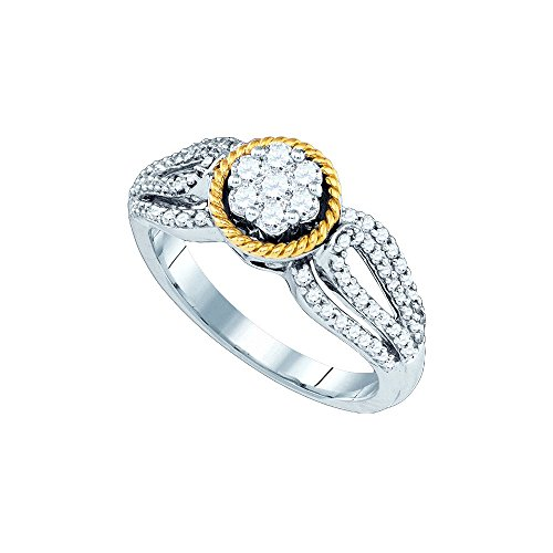 10kt Two-tone Gold Womens Round Diamond 2-tone Roped Cluster Ring 5/8 Cttw by JAWAFASHION
