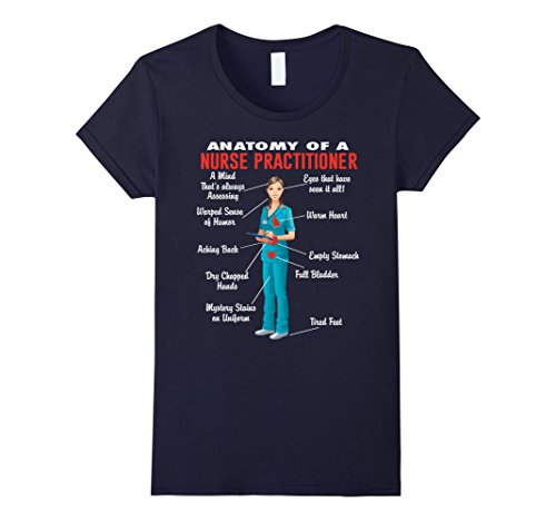 Women's Anatomy Of A Nurse Practitioner - Nurse Practitioner Shirt Small Navy