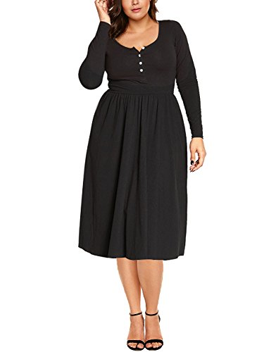 Luvamia Women's Casual Cotton Long Sleeve Knee Length High Waist Scoop Neck Stretch Button Front Solid A Line Skater Dress Size XXL,Black (Pleat Skirt Neck Scoop)