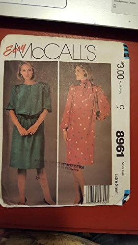 Mccalls 8961 Sewing Pattern, For, Pullover Blouson Waist Dress with Neckline Vent and Shoulder Tucks