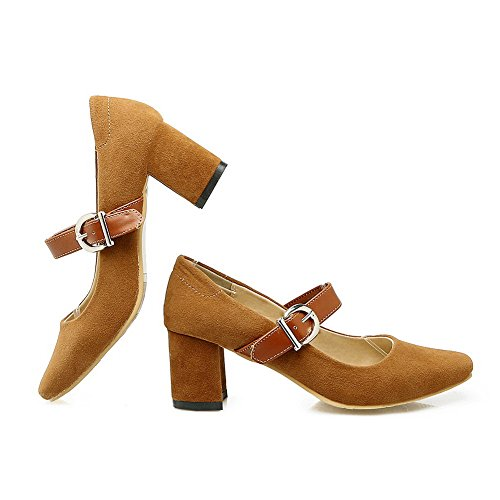 BalaMasa Ladies Chunky Heels Buckle Square-Toe Frosted Pumps-Shoes Brown d8uZTDK