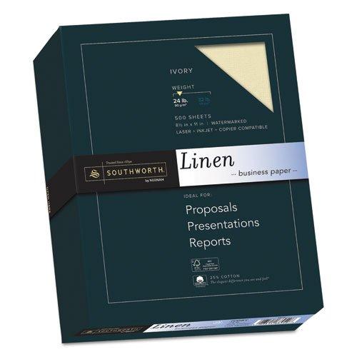 25% Cotton Linen Business Paper, Ivory, 24lb, 8 1/2 x 11, 500 Sheets