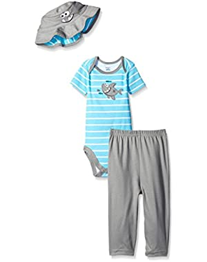Gerber Baby Boys' 3 Piece Bodysuit, Bucket Hat, and Pant Set