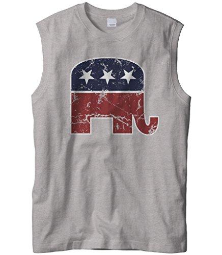 Cybertela Men's Faded Republican Elephant Sleeveless T-Shirt (Light Gray, Small)