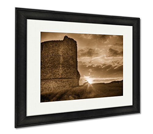 Ashley Framed Prints Hadleigh Castle An Old Medival Derelict Castle Architecture Sky Old Building, Wall Art Home Decoration, Sepia, 26x30 (frame size), Black Frame, AG5833345 - Hadleigh Castle