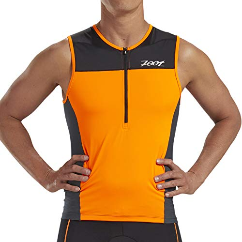 Zoot Men's Core Tri Tank - Performance Triathlon Top with Mesh Panels and 3 Pockets (Orange, Medium)