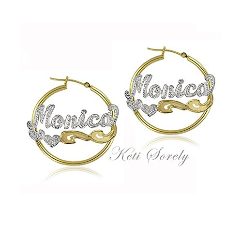 - Hoop Earrings With Nameplate And Diamond Beading.