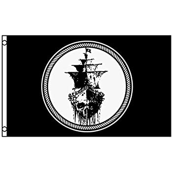 Black sea pirate ghost ship flag jolly rodger mutiny banner pennant 3 x 5 foot