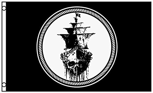 Pennant Pirate Flags (Black Sea Pirate Ghost Ship Flag Jolly Rodger Mutiny Banner Pennant 3 x 5)
