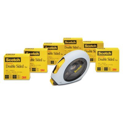 665 Double-Sided Permanent Tape w/Hand Dispenser, 1/2'''' x 900'''', 6 Rolls, Sold as 6 Roll