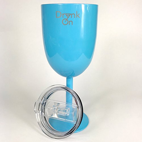 D-New, 10 OZ Stainless Steel Wine Glasses With Lid, Wine Mug, Wine Goblet-Unbreakable, Shatterproof– Outdoor Wine Glasses, Portable Wine Glasses With Lid-BPA Free-SKY BLUE (Blue All Purpose Goblet)