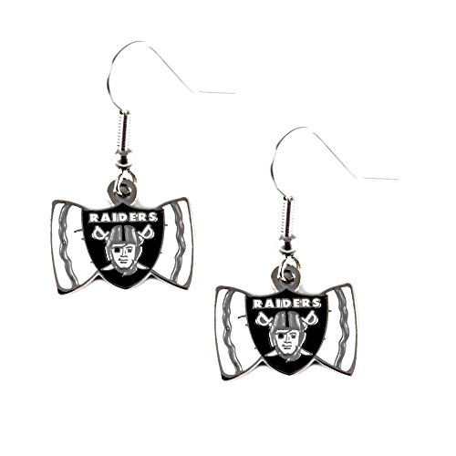 Sports Team Oakland Raiders Bow Tie Dangle Earring Set