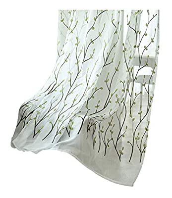 Sheer Curtains Countryside Style Tree Pattern Embroidered Rod Pocket Top Voile Gauze Window Panels Drapes for Living Room & Bedroom