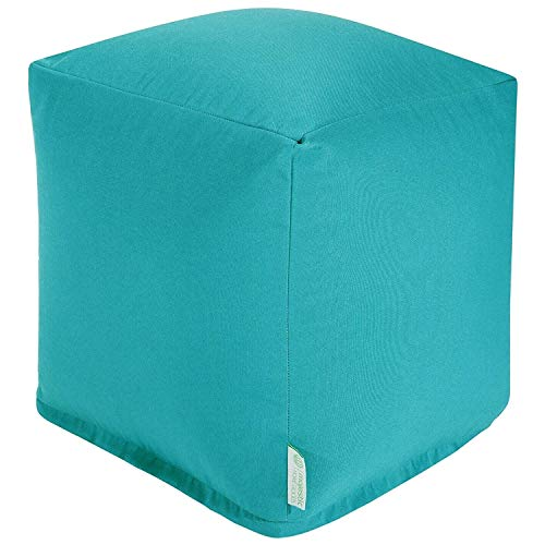 (Majestic Home Goods Teal Solid Indoor/Outdoor Bean Bag Ottoman Pouf Cube 17