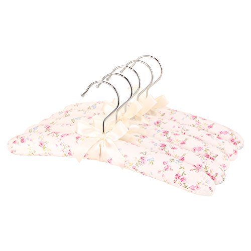 Neoviva Anti Slip Satin Padded Hangers Thick Clothes Hangers for Kids Fabric Coat Hangers for Sweaters and Dresses, Pack of 5, Floral White Ocean