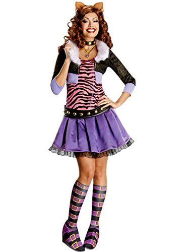 Secret Wishes Monster High Deluxe Adult Clawdeen Wolf Costume, Multi, -