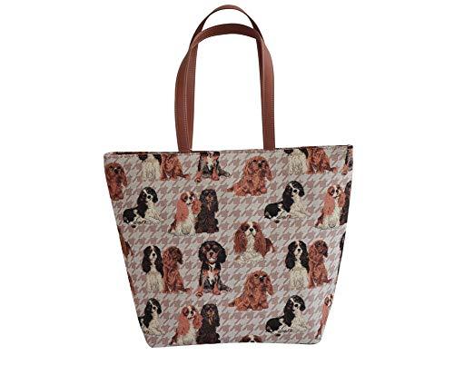 - Signare Women's Tapestry Tan Shoulder Tote Handbag, Travel Handbags for Shopper, Daily Purse Tote Bag with Cavalier King Charles Spaniel Dog (SHOU-KGCS)