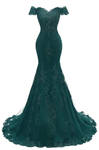 Scarisee Women's Mermaid Off Shoulder Evening Prom Dresses Lace Appliqued Beaded Formal Party Gowns Teal 26 Plus