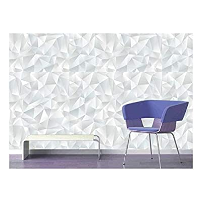 Large Wall Mural - Abstract White Geometric Seamless Pattern | Self-Adhesive Vinyl Wallpaper/Removable Modern Decorating Wall Art - 66