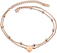 Epinki Women Anklet, Stainless Steel Heart Shape Pendant Beach Foot Anklet Bracelet Rose Gold 21 + 5 cm