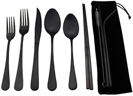 3 Piece Camping Black Trekmates Polycarbonate Cutlery Set