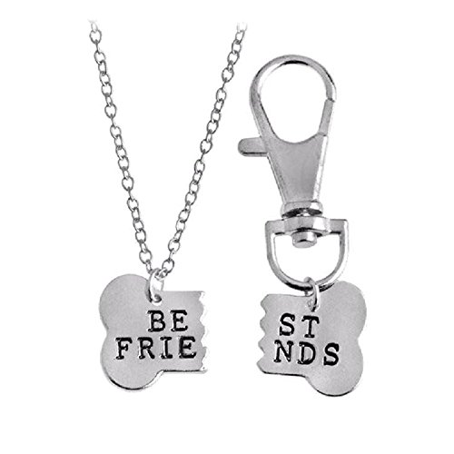 Bone Pet Necklace Charm - Goody Paws BFF Bone Necklace and Dog Collar Charm Set | Best Friends Set | Dog Tag | Gifts for Dog Lovers | 20