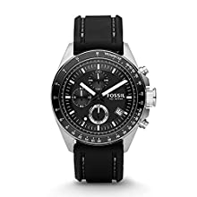 Fossil Men's CH2573IE Decker Stainless Steel Chronograph Watch With Black Silicon Band