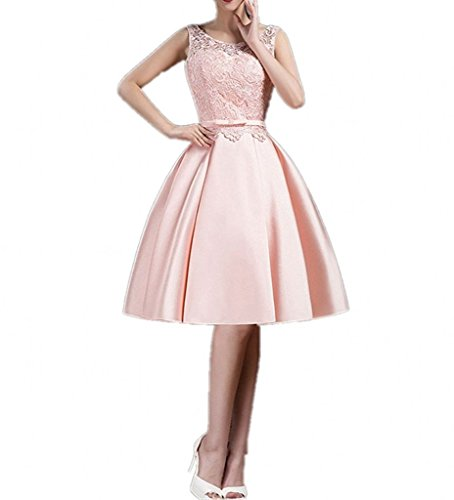 Rosa Abschlussballkleider Mini Cocktailkleider mia Rock Brau Spitze Kurzes La Satin A Linie Abendkleider Promkleider OqXw8x