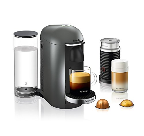 Nespresso VertuoPlus Deluxe Coffee and Espresso Maker by Breville with Aeroccino, Titan