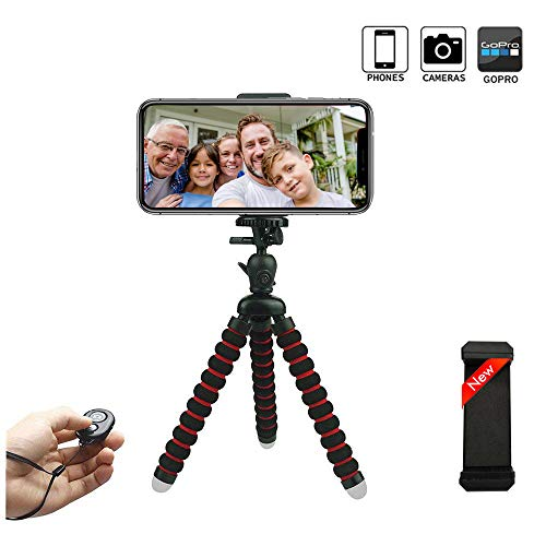 Phone Tripod, OASMU Portable and Adjustable Camera Stand Holder with Wireless Remote and Universal Clip for iPhone, Android Phone, Camera, Sports Camera GoPro-Small