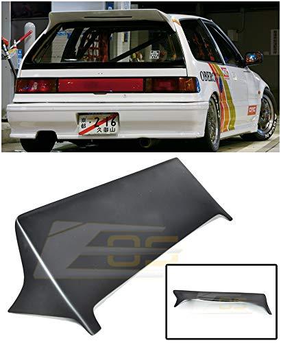 Parts Honda Hatchback Civic 1990 - Replacement for 1988-1991 Honda Civic EF9 3Dr Hatchback | EOS J's Racing Style Primer Black Brake Light Open Rear Top Roof Lip Wing Spoiler